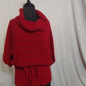 New directions red cowl neck short sleeve sweater